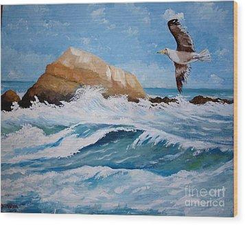 Waves Of The Sea Wood Print