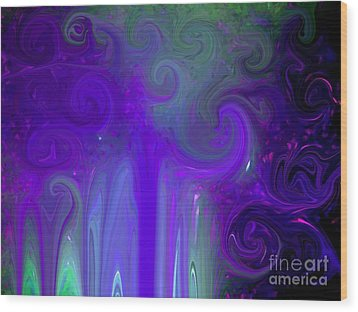 Waves Of Violet - Abstract Wood Print by Susan Carella