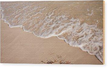 Waves On The Beach Wood Print by Adam Romanowicz