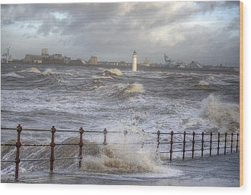 Waves On The Slipway Wood Print by Spikey Mouse Photography