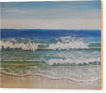 Waves Wood Print by Pamela  Meredith