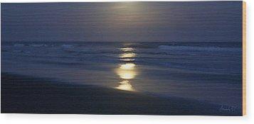 Waves Reflecting Moon Wood Print by Amanda Holmes Tzafrir