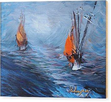 Wavy Sea Wood Print by Helene Khoury Nassif