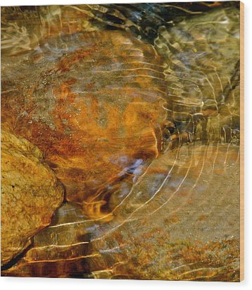 Wavy Water On Colorful Rocks Wood Print by Kirsten Giving