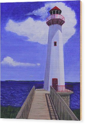 Wood Print featuring the painting Wawatam Lighthouse by Janet Greer Sammons