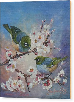 Wax Eyes On Blossom Wood Print by Peter Jean Caley