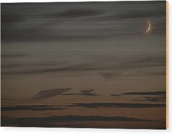 Waxing Crescent Moon Over Purple And Orange Evening Sky Wood Print by Julis Simo
