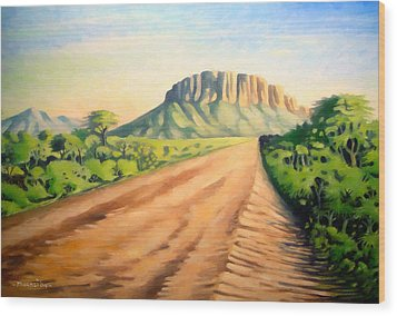 Wood Print featuring the painting Way To Maralal by Anthony Mwangi