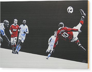Wayne Rooney - Manchester United Fc Wood Print by Geo Thomson