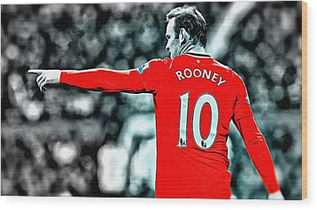 Wayne Rooney Poster Art Wood Print by Florian Rodarte