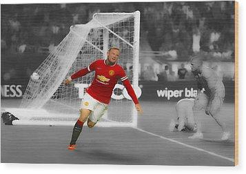 Wayne Rooney Scores Again Wood Print