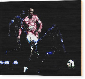 Wayne Rooney Working Magic Wood Print