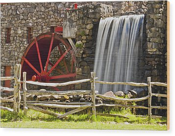 Wayside Grist Mill 4 Wood Print by Dennis Coates