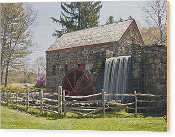Wayside Grist Mill 5 Wood Print by Dennis Coates