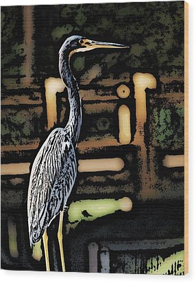 Wood Print featuring the digital art Wc Great Blue by David Lane