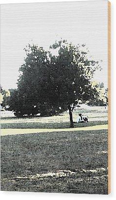 Wc Resting Tree Wood Print by Nicki Bennett