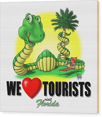 Wood Print featuring the digital art We Love Tourists Snake by Scott Ross