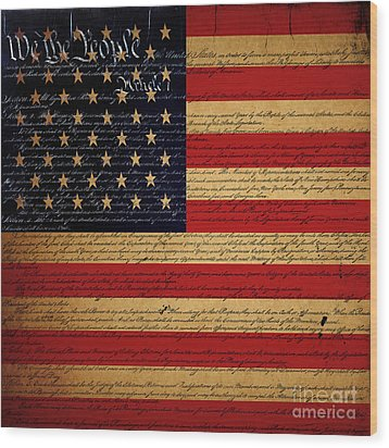 We The People - The Us Constitution With Flag - Square V2 Wood Print by Wingsdomain Art and Photography