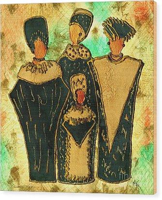 We Women 4 - Suede Version Wood Print by Angela L Walker