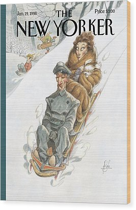 Wealthy Woman Rides A Sled With A Driver Wood Print by Peter de Seve