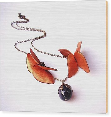 Wearable Art . Never Ending Love . One Of A Kind Necklace Wood Print by Marianna Mills