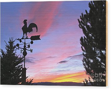 Weather Vane Sunset Wood Print by Phyllis Kaltenbach