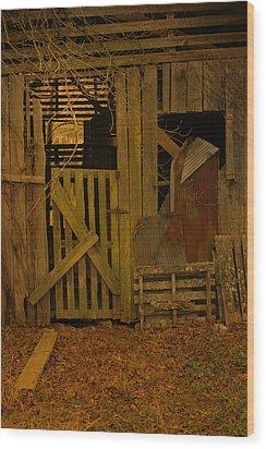 Weathered Barn Detail Wood Print by Nina Fosdick