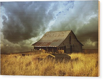 Weathered Barn  Stormy Sky Wood Print by Ann Powell