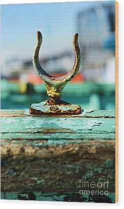 Weathered Boat Oar Lock Wood Print by Paul Ward
