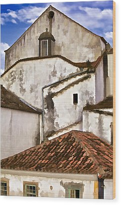 Weathered Buildings Of The Medieval Village Of Obidos Wood Print by David Letts