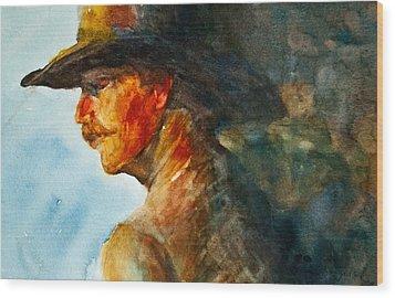 Weathered Cowboy Wood Print by Jani Freimann