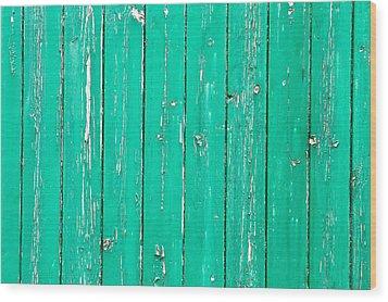 Weathered Green Wood Wood Print by Tom Gowanlock