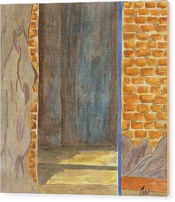 Weathered Wall With Doorway Wood Print by Bav Patel