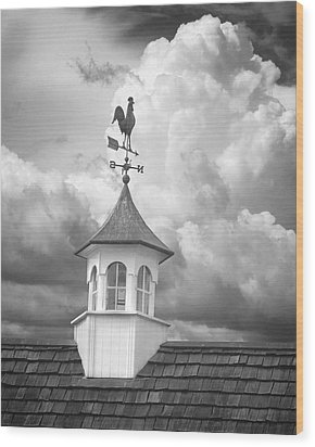 Weathervane And Clouds Wood Print