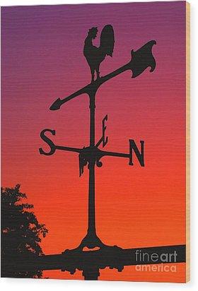 Weathervane At Sunset Wood Print by Nick Zelinsky