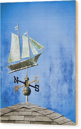 Weathervane Clipper Ship Wood Print by Carol Leigh