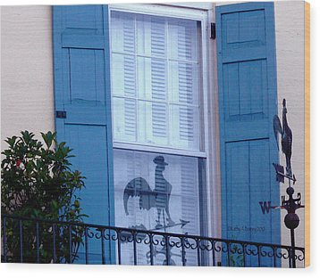 Charleston Weathervane Reflection Wood Print by Kathy Barney