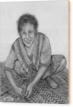 Wood Print featuring the drawing Weaving A Mat 2 by Lew Davis