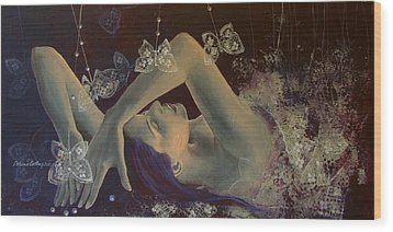 Weaving Lace Wings... Wood Print by Dorina  Costras