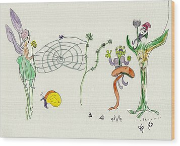 Wood Print featuring the painting Web Faeries by Helen Holden-Gladsky