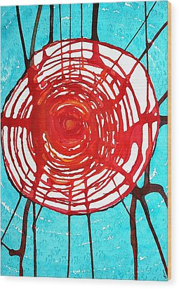 Web Of Life Original Painting Wood Print by Sol Luckman