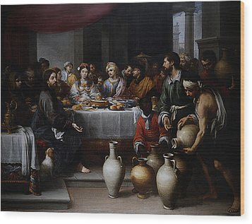 Wedding At Cana Wood Print by Esteban Murillo