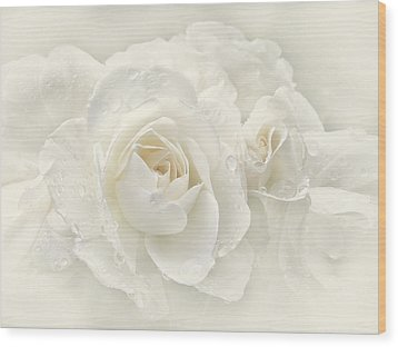 Wedding Day White Roses Wood Print by Jennie Marie Schell