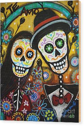 Wood Print featuring the painting Wedding Dia De Los Muertos by Pristine Cartera Turkus
