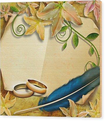 Wedding Memories V4 Natural Wood Print by Bedros Awak