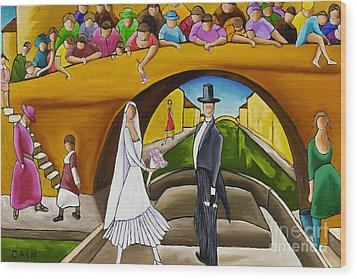 Wedding On Barge Wood Print by William Cain