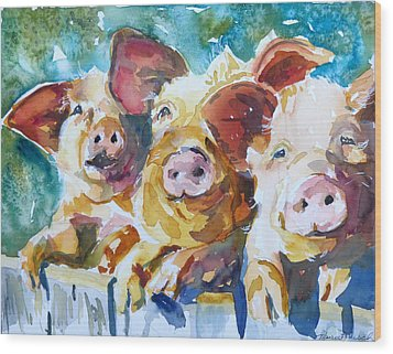 Wee 3 Pigs Wood Print
