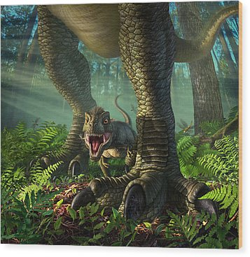 Wee Rex Wood Print by Jerry LoFaro