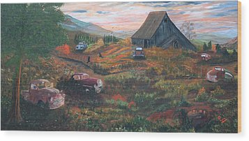 Wood Print featuring the painting Weeds And Rust by Myrna Walsh