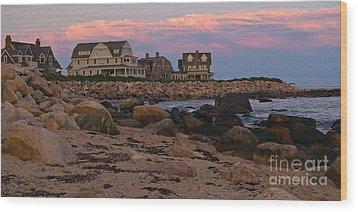 Weekapaug Ri Sunset Panorama Wood Print by Anna Lisa Yoder
